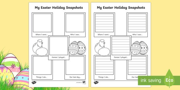 Easter Holiday Snapshots Writing Frame - religion, celebrations