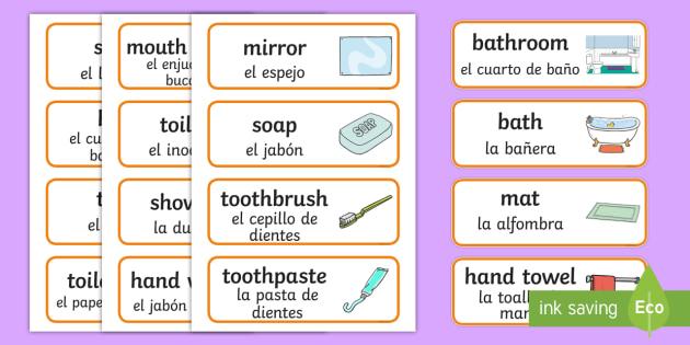 bathroom vocabulary word cards - english / spanish - bathroom