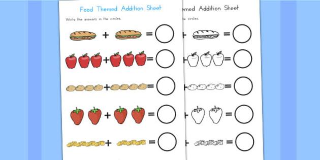 Food Themed Addition Sheet - food, maths, numeracy, adding, add