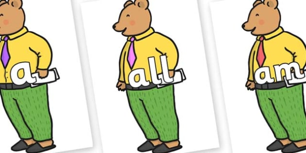 Foundation Stage 2 Keywords on Mr Bear to Support Teaching on The Jolly Christmas Postman - FS2, CLL, keywords, Communication language and literacy,  Display, Key words, high frequency words, foundation stage literacy, DfES Letters and Sounds, Letter