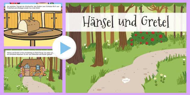 Hansel and Gretel Story PowerPoint German - german, hansel and gretel, storybook