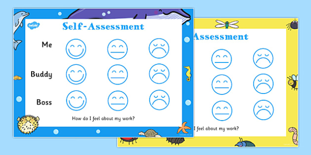 Child Self-Assessment Sheets Smiley Faces - self-assessment