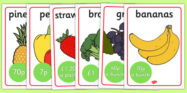 Fruit And Veg Shop Role Play Signs - Fruit and Vegetable Shop Role Play Pack, fruit, vegetables, shop, produce, customer, till, role play, display, poster