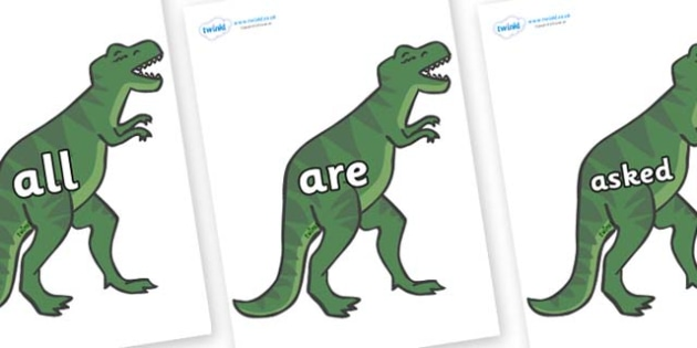 Tricky Words on T-Rex - Tricky words, DfES Letters and Sounds, Letters and sounds, display, words
