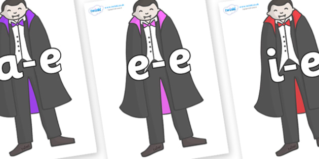 Modifying E Letters on Vampires - Modifying E, letters, modify, Phase 5, Phase five, alternative spellings for phonemes, DfES letters and Sounds