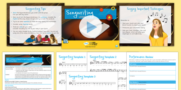 FREE! - BBC Children in Need Songwriting Lesson Pack - KS3, Secondary