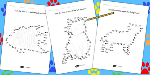 Counting in s Dot to Dot Sheets Animals - count, counting aid