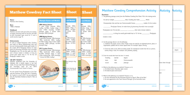 Matthew Cowdrey Australian Olympian Differentiated Comprehension Activity - australia, Australia, Olympic Games, Information, Fact Sheet, Reading Comprehension, Vocabulary, Phonics, Sequencing, Challenge