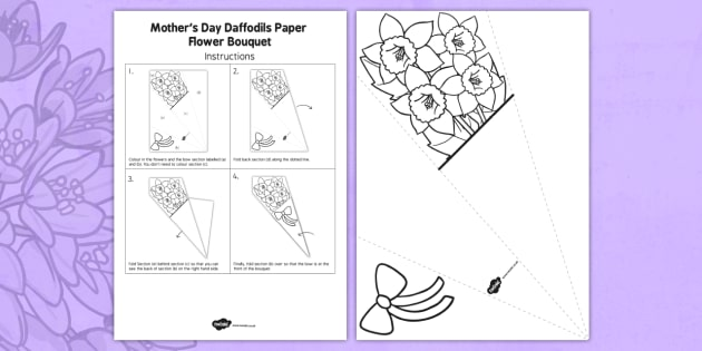 Mother's Day Paper Flower Bouquet Daffodils - mothering, sunday, mum, mam, mom, craft, card, celebration