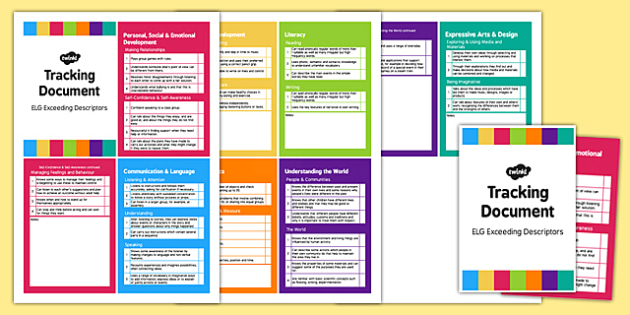 Pocket Size ELG Exceeding Descriptors Tracking Document - EYFS assessment, progress tracker, foundation stage profile, early years