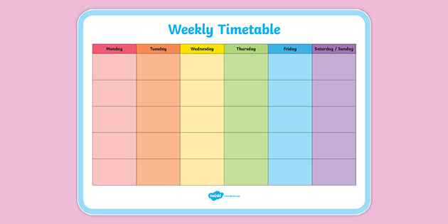 Weekly Schedule Template With Times from images.twinkl.co.uk