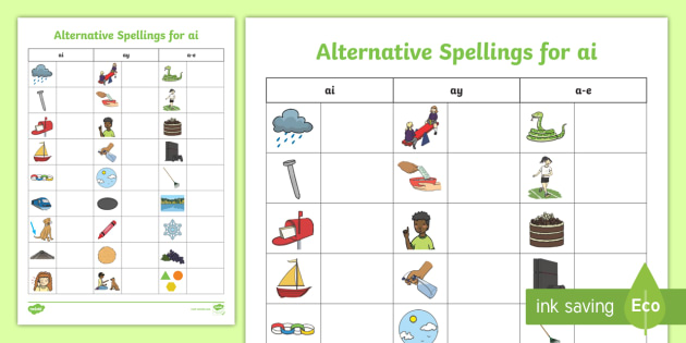 Alternative Spellings Ai Ay A E Table Worksheet