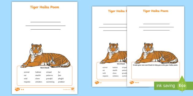 new tiger haiku poem differentiated worksheets poem poetry haiku. Black Bedroom Furniture Sets. Home Design Ideas