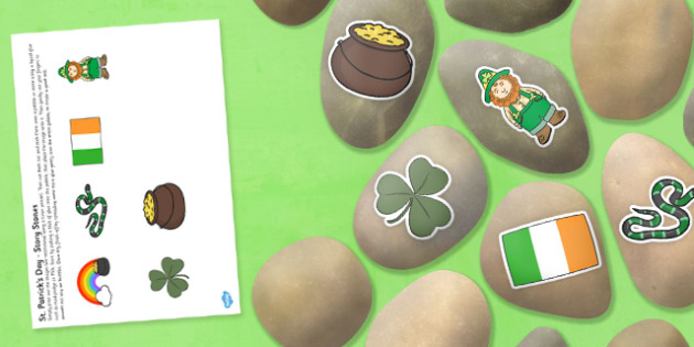 St Patricks Day Story Stone Image Cut Outs - Story stones, stone art, painted rocks,  story telling, science, investigation