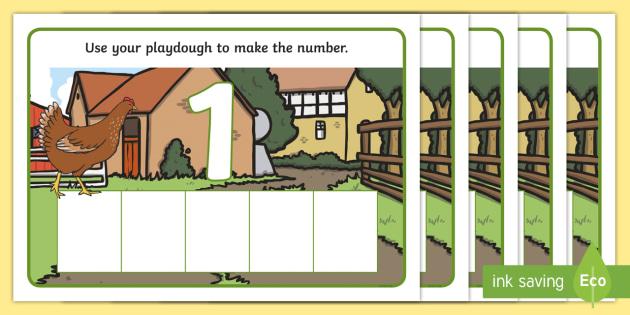 Farm Five Frame Number Playdough Mats