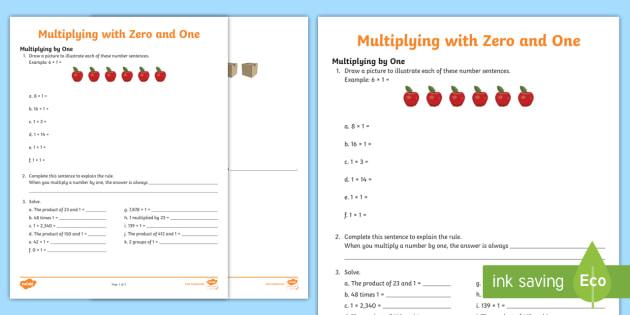Multiplying by Zero and One Worksheet - multiplication strategies ...