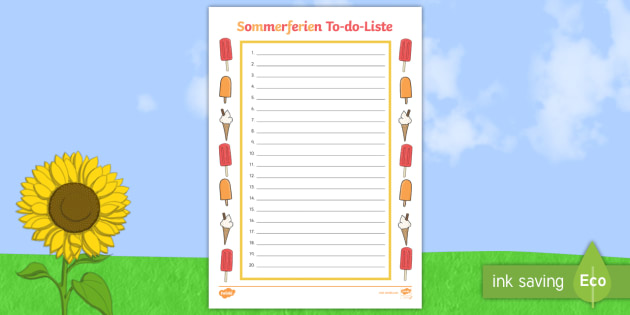 Sommerferien To do Liste Arbeitsblatt - Sommerferien