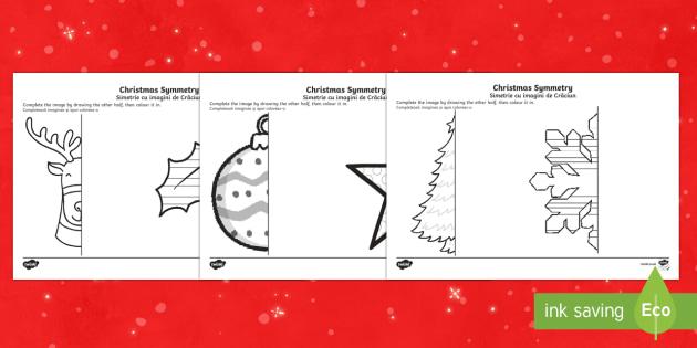 Christmas Themed Symmetrical Activity Sheets English/Romanian - Symmetry, Christmas, Geometry,