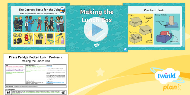 D&T: Pirate Paddy's Packed Lunch Problems: Making the Lunch Box KS1 Lesson Pack 4