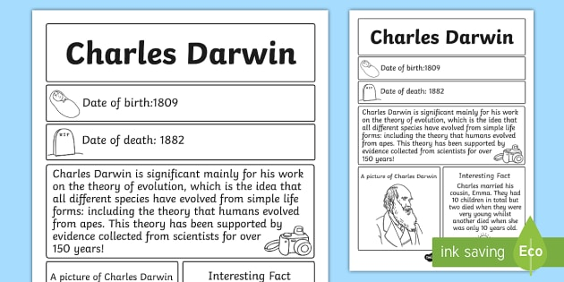 Charles Darwin Primary Resources Significant Page 1 – Charles Darwin Worksheet