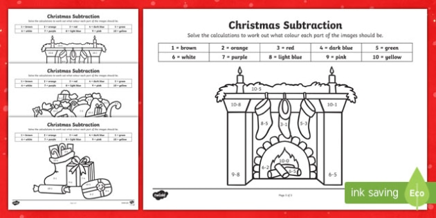 Christmas Subtraction to 10 Colour by Number