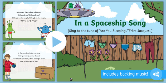 in a spaceship song powerpoint eyfs early years aliens