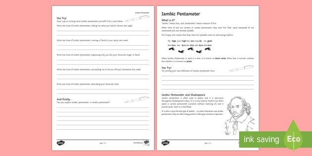 Iambic Pentameter Worksheet / Activity Sheet - William