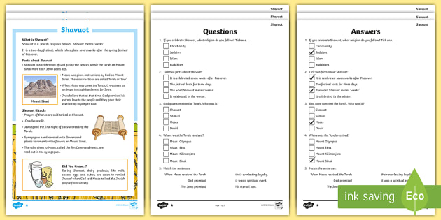 KS2 Shavuot Differentiated Reading Prehension Activity