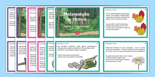 Outdoor maths challenge cards Polish-Polish