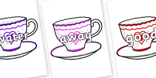 Next 200 Common Words on Cups and Saucers - Next 200 Common Words on  - DfES Letters and Sounds, Letters and Sounds, Letters and sounds words, Common words, 200 common words