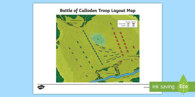 culloden battlefield features and layout of troops map