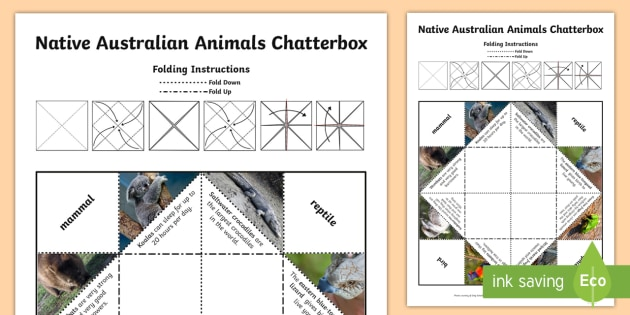 Australian Animals Chatterbox Game - Australian Animals, reptiles, cloze passages, activity sheets, word search, research, fast finisher,