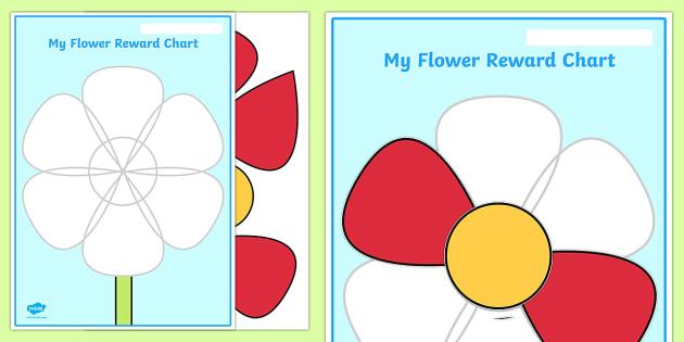 Flower Petal Reward Chart - flower reward chart, flower shape reward chart, flower petals reward chart, complete the flower reward chart, reward chart