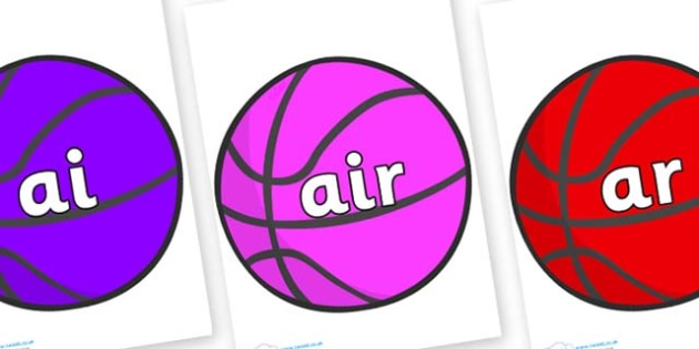 Phase 3 Phonemes on Basketballs - Phonemes, phoneme, Phase 3, Phase three, Foundation, Literacy, Letters and Sounds, DfES, display