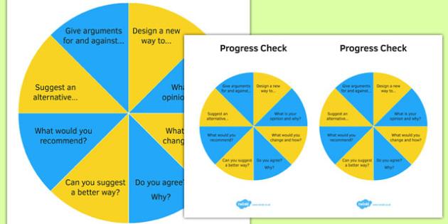 KS3 Bloom's Taxonomy Question Wheel Create and Evaluate Progress Check - ks3, blooms taxonomy, question wheel