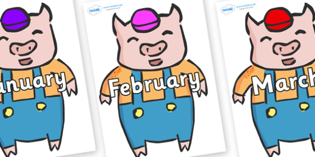 Months of the Year on Little Pig - Months of the Year, Months poster, Months display, display, poster, frieze, Months, month, January, February, March, April, May, June, July, August, September