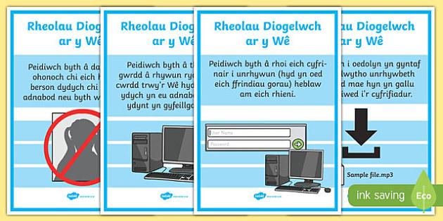 Posteri Diogelwch ar y Wê Posteri Arddangos-Welsh, fframwaith cynhwysedd digidol