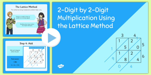 Lattice Method PowerPoint USA - US Resources, Common Core, Multiplication, PowerPoint, Lattice Method, Operations and Algebraic Thinking, OA, 3rd, 4th, 5th