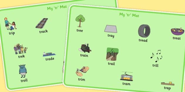 TR Word Mats - tr, word mats, word, mats, sen, sound, tr sound