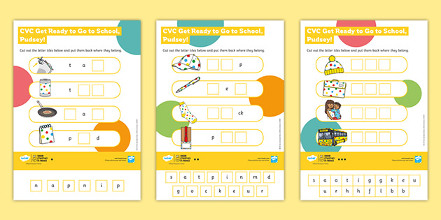 EYFS BBC Children in Need: Get Ready to Go to School with Pudsey Level 2 Differentiated CVC Sheets