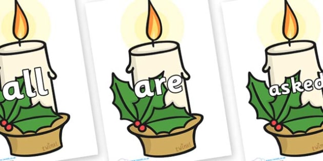 Tricky Words on Christmas Candles - Tricky words, DfES Letters and Sounds, Letters and sounds, display, words