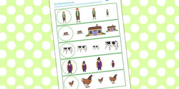 Jack and the Beanstalk Size Matching Worksheets - matching, size