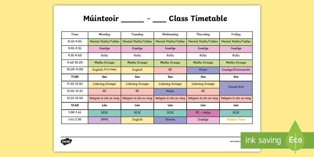 editable sample timetable