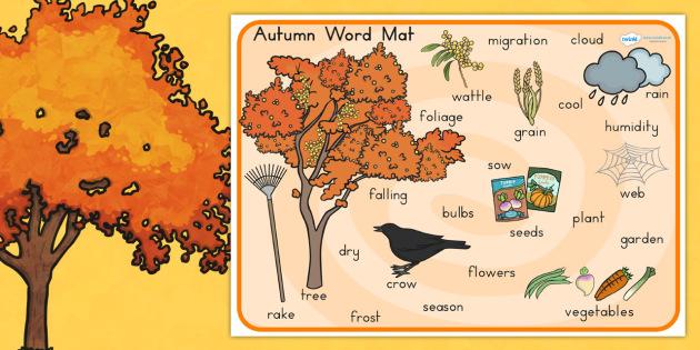 Autumn Word Mat - seasons, weather, keywords, visual aid, words