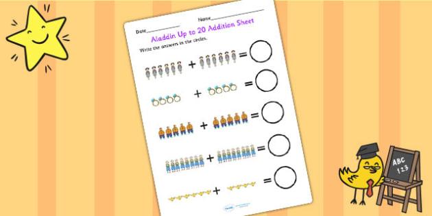 Aladdin Up to 20 Addition Sheet - aladdin, 0-20, add, adding