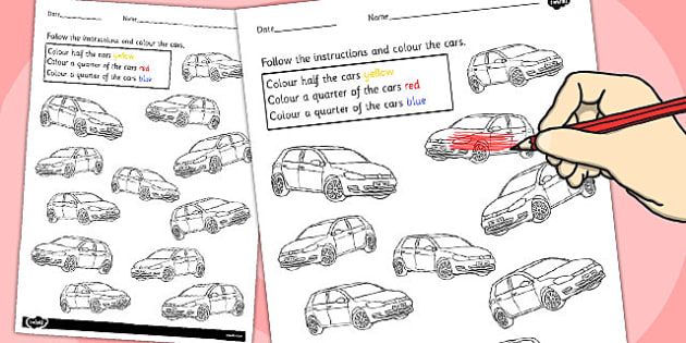 Fractions Colouring Sheet Cars - maths, vehicles, car, colours