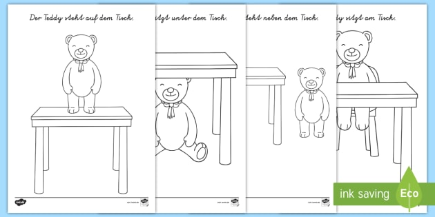 Wo ist der Teddybär? Präpositionen Ausmalbilder - Wörter