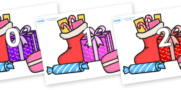 Numbers 0-50 on Christmas Gifts - 0-50, foundation stage numeracy, Number recognition, Number flashcards, counting, number frieze, Display numbers, number posters
