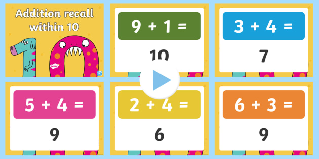 Addition Recall Within Ten PowerPoint - mental maths, revision, number bonds, recall, within 10, addition.