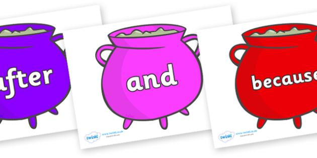 Connectives on Cauldrons (Multicolour) - Connectives, VCOP, connective resources, connectives display words, connective displays